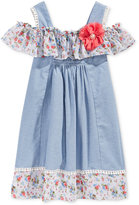 Bonnie Jean Cold-Shoulder Chambray Dress, Toddler & Little Girls (2T-6X)