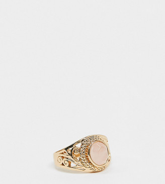 Reclaimed Vintage inspired harmony faux rose quartz ring in gold plate