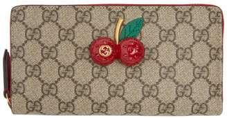 Gucci Beige GG Cherries Zip Wallet