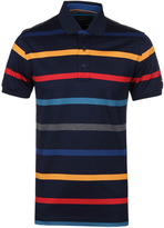 Paul & Shark Navy Multi Stripe Pique Polo Shirt