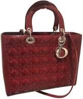 Christian Dior Lady Burgundy Patent leather Handbags