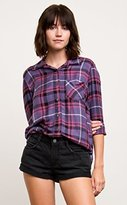 RVCA Junior's Borrowed Plaid Flannel Shirt