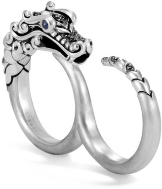 John Hardy Legends Naga Blue Sapphire & Brushed Silver Two-Finger Ring