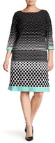 Sandra Darren 3/4 Length Sleeves Polka Dot Dress (Plus Size)