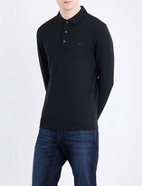 Michael Kors Logo-embroidered long-sleeved cotton-jersey polo shirt