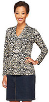 As Is Liz Claiborne New York Printed V-Neck Knit Long Sleeve Top