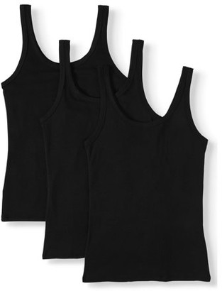 Time and Tru Women's Layering Tank Top, 3 Pack Bundle