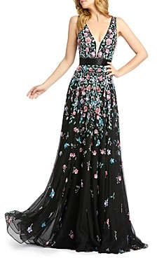 Mac Duggal Floral Embroidered V Neck Gown
