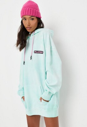 Missguided Playboy X Mint Tie Dye Bunny Back Hoodie Dress