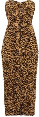 Norma Kamali Leopard-print Ruched Bandeau Jersey Midi Dress - Leopard