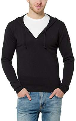Melange Home James Tyler Men's Hooded Jumper with V-Neck, light grey melange, S
