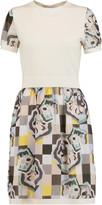 Raoul Paneled cotton-blend jersey and printed crepe mini dress