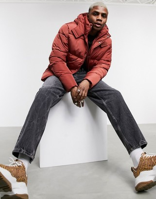 ASOS DESIGN sustainable puffer jacket with hood in rust