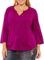 Liz Claiborne Bell Sleeve Lace Insert T-Shirt-Womens Plus