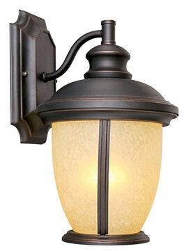 Ebern Designs Faysal Outdoor Wall Lantern Finish: Oil Rubbed Bronze, Shade Type: Tea Speckled