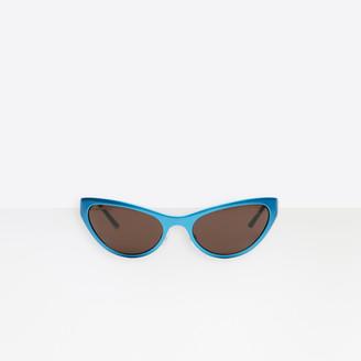Balenciaga Aluminum Cat Sunglasses in allover logo in bright blue aluminum with grey lenses