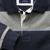 Charles Tyrwhitt Navy, grey and blue stripe long sleeve rugby shirt
