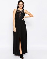 Club L Occasion Maxi Dress With Lace Plunge Neckline