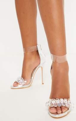 PrettyLittleThing Silver Clear Beaded Strappy Heel Sandal