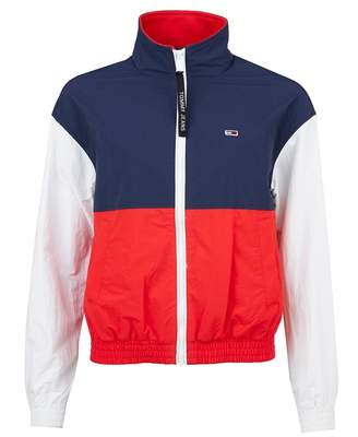 Tommy Jeans Colourblock Zip Through Nylon Jacket Colour: Navy Red Whit