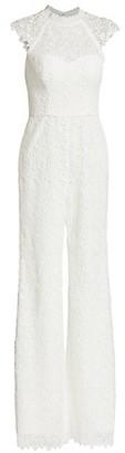 ML Monique Lhuillier Cap-Sleeve Lace Jumpsuit