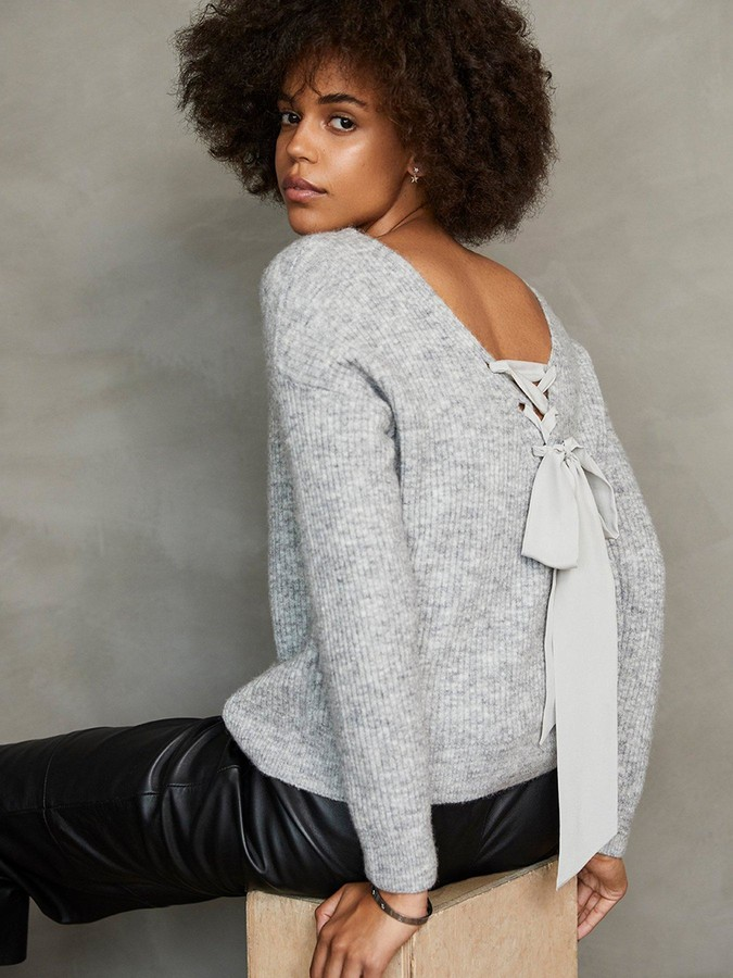 Mint Velvet Boxy Tie Back Jumper - Grey
