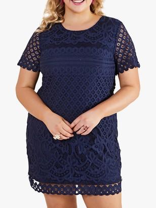 Yumi Curves Lace Tunic Dress, Navy