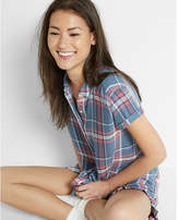 Express Plaid Short Sleeve Button-up Shirt