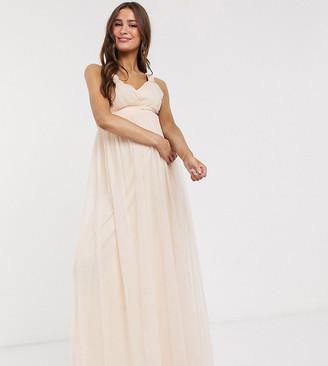 Little Mistress Maternity pleat plunge maxi dress dress in blush