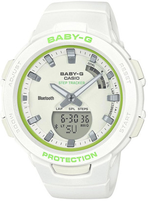 Baby-G BSAB100SC-7ABluetooth Step Tracker White with Lime Green