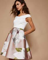 Ted Baker Chatsworth jacquard offshoulder dress