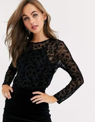JDY floral printed mesh top-Black