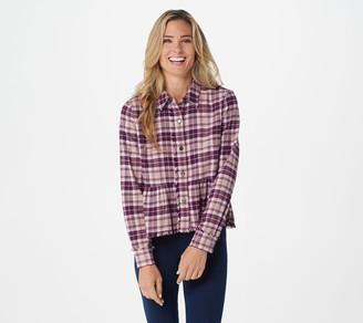 Rachel Hollis Ltd Button Front Flannel Peplum Top