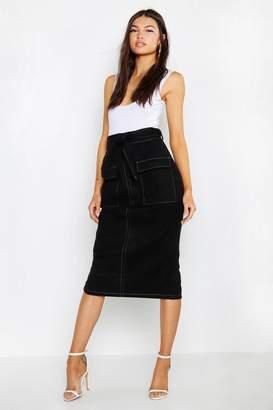 boohoo Contrast Stitch Utility Pocket Midi Skirt