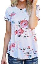 HANYI Women Short Sleeve Flower Printed Blouse Casual Summer Tops T Shirt (M, )