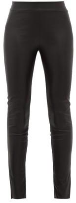 Wolford Estella Ankle-slit Faux-leather Leggings - Womens - Black