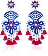 Mercedes Salazar Fiesta Blue And Red Drop Tassel Earrings