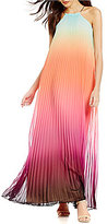 Trina Turk Plume Pleated Sunset Ombre Maxi Dress