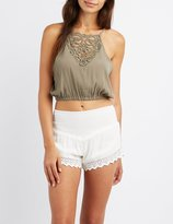 Charlotte Russe Crochet-Trim Bib-Neck Crop Top