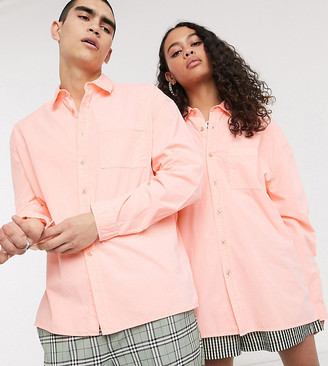 Collusion Unisex washed oversized shirt in peach