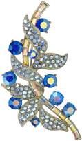 Krustallos Swarovski Crystal Floral Brooch with Entangling Crystalized Leaves