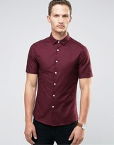 Asos Skinny Oxford Shirt In Burgundy With Short Sleeves