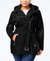 MICHAEL Michael Kors Size Quilted-Sleeve Hooded Softshell Coat