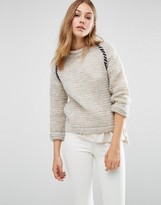People Tree Textured Hand Knit Crew Neck Boyfriend Sweater