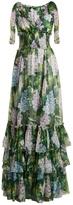 Dolce & Gabbana Hydrangea-print V-neck smocked-waist silk gown