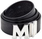 MCM Visetos Reversible Leather Belt, Black