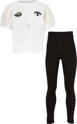 River Island Girls White eyelash t-shirt legging outfit