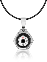 Forzieri Stainless Steel Compass Pendant w/Rubber Necklace