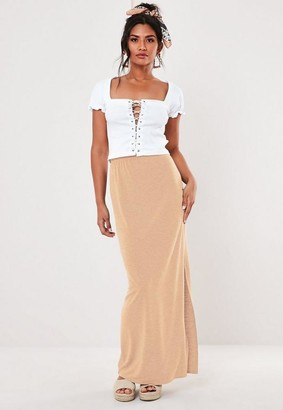 Missguided Stone Jersey Maxi Skirt