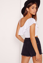 Missguided Asymmetric Frill Detail Crop Top White